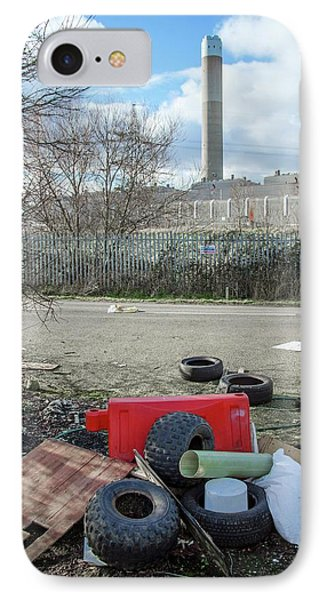 Rubbish Dumped Near Power Station IPhone Case by Robert Brook