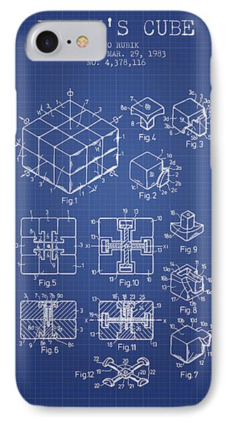 Rubiks Cube Patent From 1983 - Blueprint IPhone Case by Aged Pixel