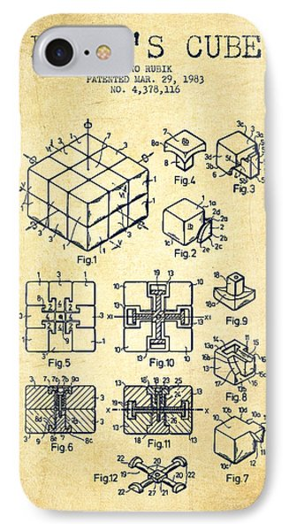 Rubiks Cube Patent From 1983 - Vintage IPhone Case by Aged Pixel