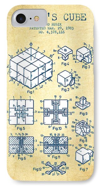 Rubiks Cube Patent From 1983 - Vintage Paper IPhone Case by Aged Pixel