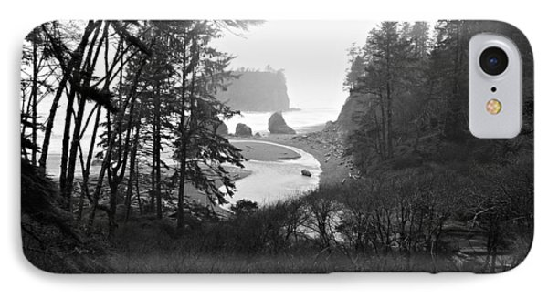 Ruby Beach In The Winter In Black And White Phone Case by Jeanette C Landstrom