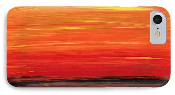 Ruby Shore - Red And Orange Abstract IPhone Case by Sharon Cummings