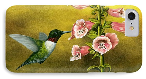Ruby Throated Hummingbird And Foxglove IPhone Case