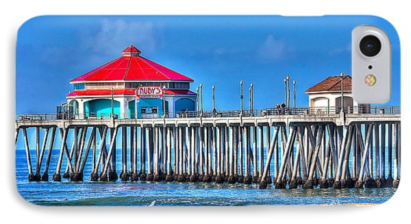 Ruby's Surf City Diner - Huntington Beach Pier Phone Case by Jim Carrell
