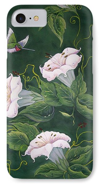 IPhone Case featuring the painting Hummingbird And Lilies by Sharon Duguay