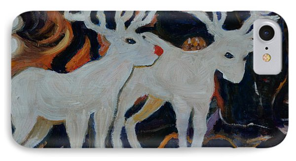 IPhone Case featuring the painting Rudolph And Friend by Julie Todd-Cundiff