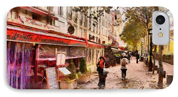 IPhone Case featuring the painting Rue Coquilliere In Paris by Kai Saarto