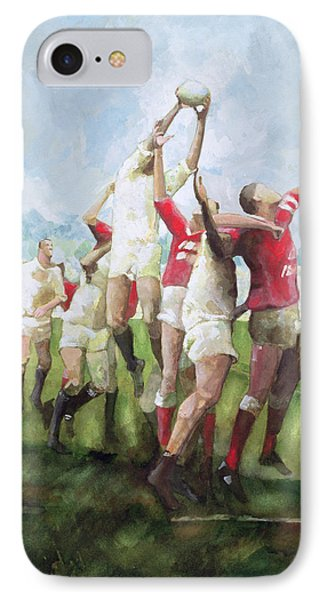 Rugby Match Llanelli V Swansea, Line Out IPhone Case