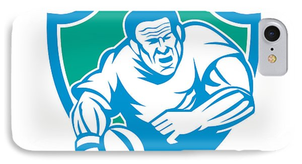 Rugby Player Running Ball Shield Linocut IPhone Case by Aloysius Patrimonio