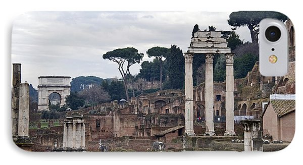 Ruins Of A Building, Roman Forum, Rome IPhone Case by Panoramic Images