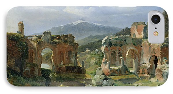Ruins Of The Theatre At Taormina IPhone Case by Achille Etna Michallon