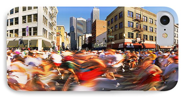 Runners Competing In Bay Bridge Run IPhone Case by Panoramic Images