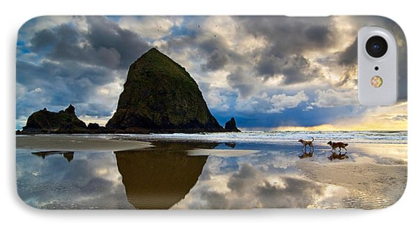 Running Free - Dogs Running In Beautiful Cannon Beach. Phone Case by Jamie Pham