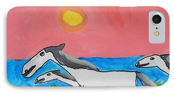 IPhone Case featuring the painting Running Ponies by Artists With Autism Inc