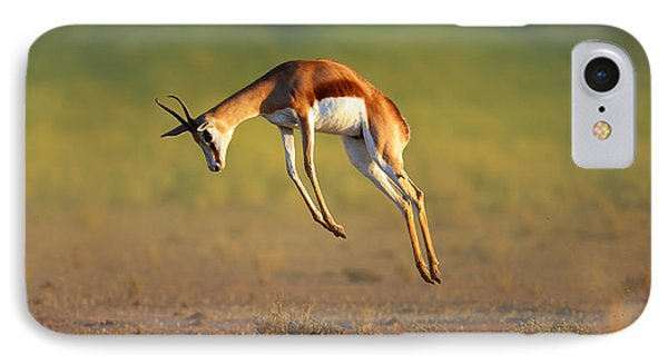 Running Springbok Jumping High IPhone Case by Johan Swanepoel