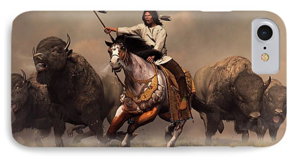 Running With Buffalo IPhone Case by Daniel Eskridge