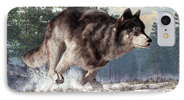 Running Wolf IPhone Case by Daniel Eskridge