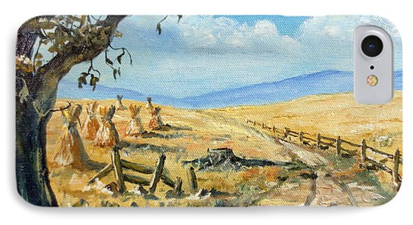 Rural Farmland Americana Folk Art Autumn Harvest Ranch IPhone Case by Lee Piper