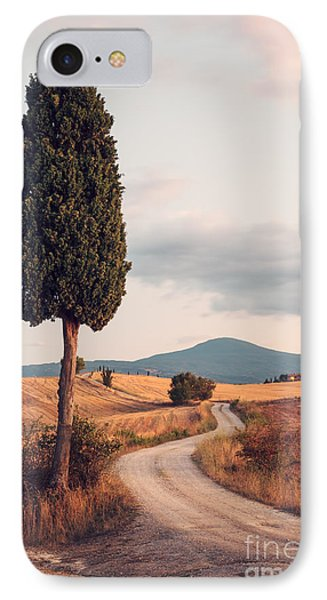 Rural Road With Cypress Tree In Tuscany Italy Phone Case by Matteo Colombo