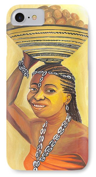 IPhone Case featuring the painting Rural Woman From Cameroon by Emmanuel Baliyanga