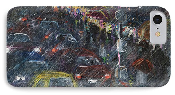 Rush Hour Rain  IPhone Case by Leela Payne