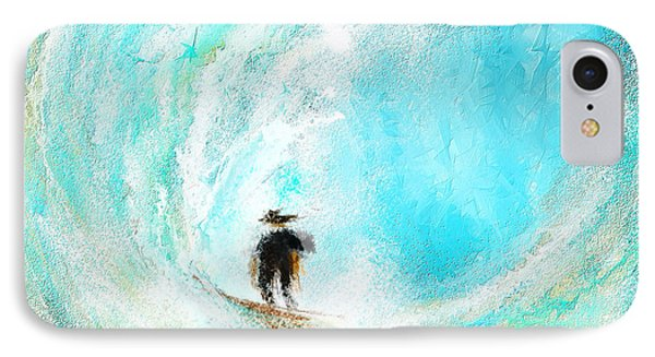 Rushing Beauty- Surfing Art IPhone Case by Lourry Legarde