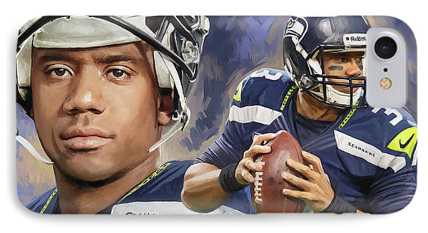 IPhone Case featuring the painting Russell Wilson Artwork by Sheraz A