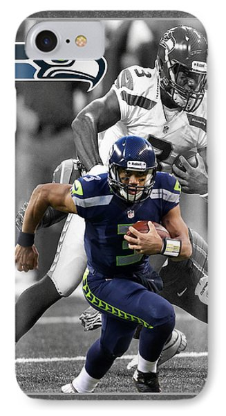 Russell Wilson Seahawks IPhone Case by Joe Hamilton