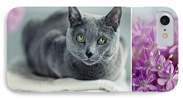 Russian Blue Collage IPhone Case by Nailia Schwarz