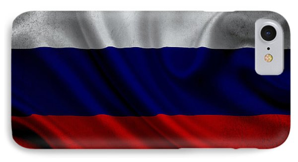 Russian Flag Waving On Canvas IPhone Case by Eti Reid
