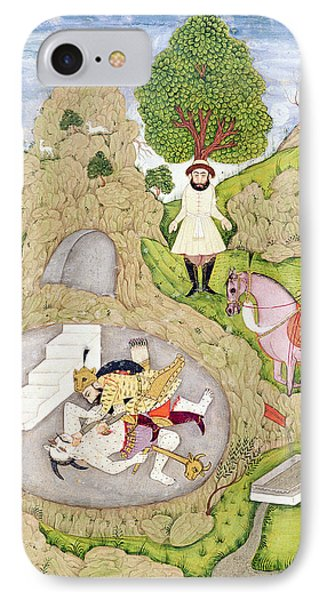 Rustam Killing The White Demon, From The Shahnama Book Of Kings IPhone Case by Indian School