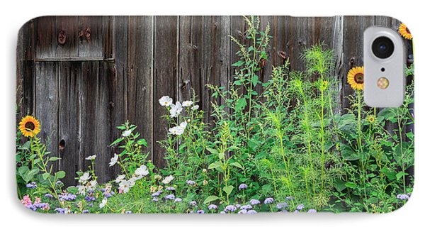 Rustic Barn Wood And Summer Flowers IPhone Case by Bill Wakeley