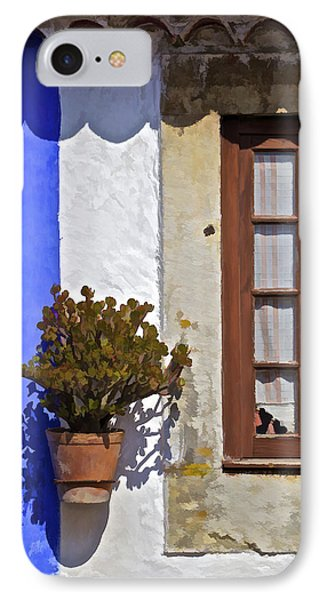 Rustic Brown Window Of The Medieval Village Of Obidos Phone Case by David Letts