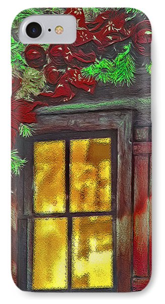 Rustic Christmas Window IPhone Case by Steve Ohlsen