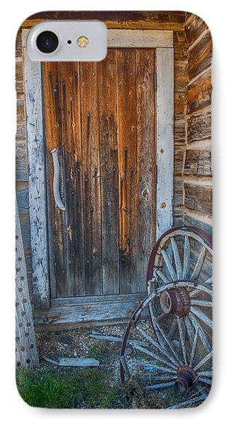 Rustic Door And Wagon Wheels IPhone Case by Paul Freidlund