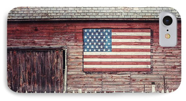 Rustic Red Barn With American Flag  IPhone Case by Lisa Russo
