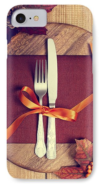 Rustic Table Setting For Autumn Phone Case by Amanda Elwell