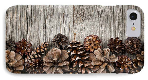 Rustic Wood With Pine Cones Phone Case by Elena Elisseeva