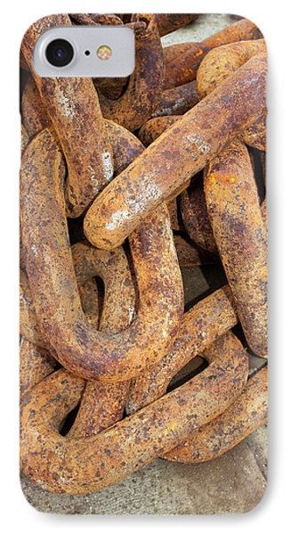 Rusty Anchor Chain IPhone Case by Ashley Cooper