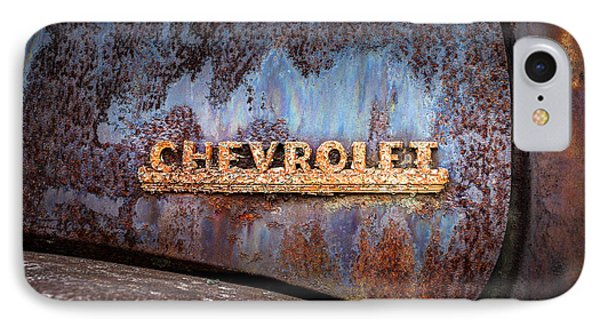 IPhone Case featuring the photograph Rusty Chevrolet - Nameplate - Old Chevy Sign by Gary Heller