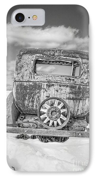 Rusty Old Car In The Snow IPhone Case