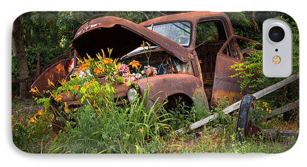 IPhone Case featuring the photograph Rusty Truck Flower Bed - Charming Rustic Country by Gary Heller