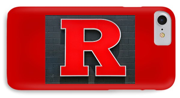 Rutgers Block R IPhone Case by Allen Beatty
