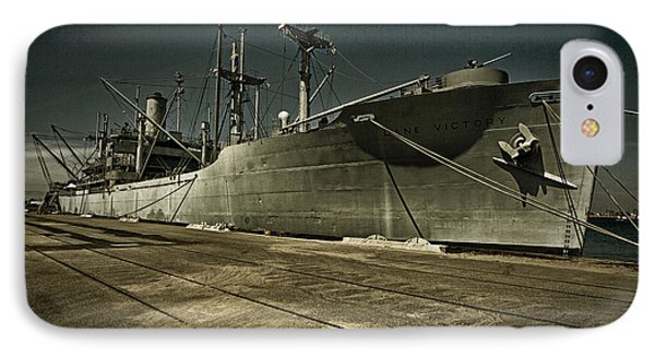 IPhone Case featuring the photograph S. S. Lane Victory ... W W 2 Era Victory Class Cargo Ship by Chuck Caramella