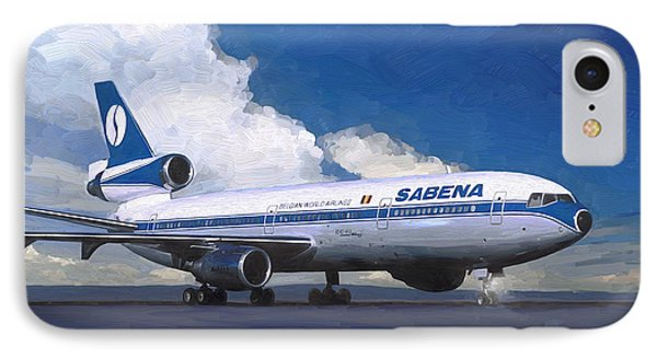 IPhone Case featuring the painting Sabena Dc-10 At Kinshasa by Nop Briex