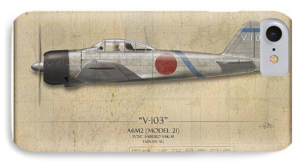 Saburo Sakai A6m Zero - Map Background Phone Case by Craig Tinder