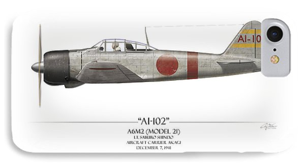 Saburo Shindo A6m Zero - White Background Phone Case by Craig Tinder