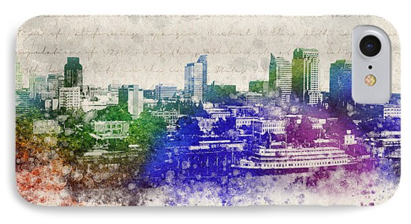 Sacramento City Skyline Phone Case by Aged Pixel