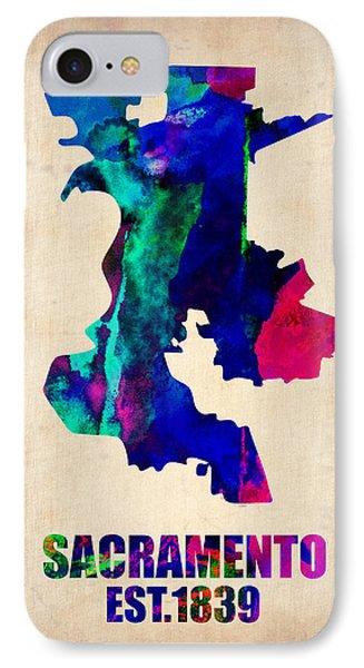 Sacramento Watercolor Map IPhone Case by Naxart Studio