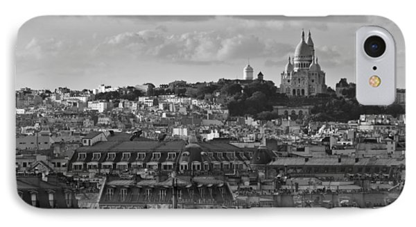 Sacre Coeur Over Rooftops Black And White Version Phone Case by Gary Eason